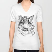 snow leopard V-neck T-shirts featuring Snow leopard by RekaFodor