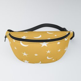 White moon and star pattern on orange background Fanny Pack