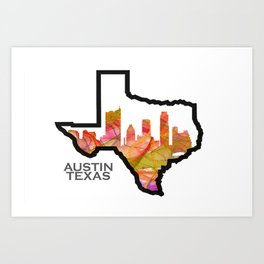 Texas State Map with Austin Skyline Art Print