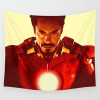 robert downey jr Wall Tapestries featuring Iron Man *** by Hands in the Sky