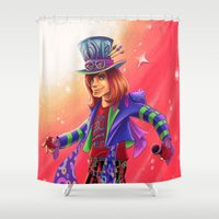 mad hatter Shower Curtains featuring The Mad Hatter by mishybelle