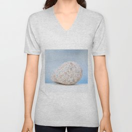 Granite pebble with blue water background Unisex V-Neck