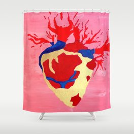 Cool Golden Heart Original Painting On Canvas Shower Curtain