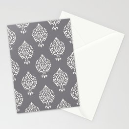 Orna Damask Pattern Cream on Grey Stationery Cards