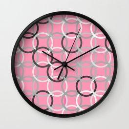 Mid-Century Modern Circles, Coral Pink and Grey Wall Clock