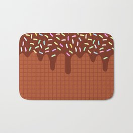 chocolate waffles with flowing chocolate sauce and sprinkles Bath Mat