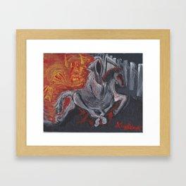 Grim Reaper on Racking Horse Framed Art Print