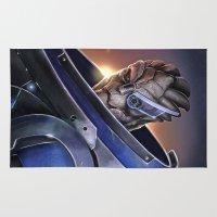 mass effect Area & Throw Rugs featuring Garrus Vakarian Portrait - Mass Effect by MarcoMellark