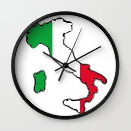 Italy Map with Italian Flag Wall Clock