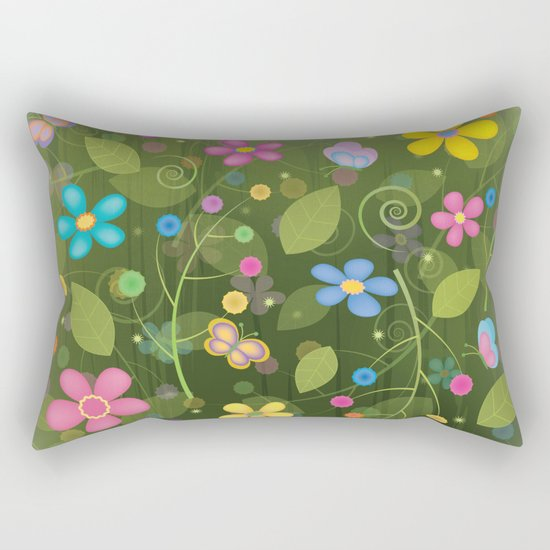 Floral and Butterfly Pattern - Summer Blooms Rectangular Pillow
