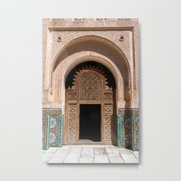 Ornate Archway Door in Marrakech, Morocco - Cream, White, Teal, Turquoise Mosaic Islamic Muslim Temple Architecture Doorway Door Arch Unique Entrance Metal Print