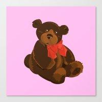teddy bear Canvas Prints featuring teddy bear by ArtSchool