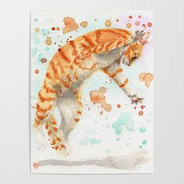 Pouncing Cat Poster