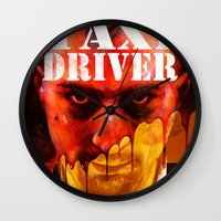 taxi driver Wall Clocks featuring Taxi Driver by ChrisNygaard