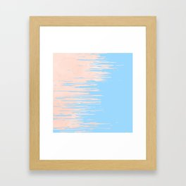 Carefree - Sweet Peach Coral Pink on Blue Raspberry Framed Art Print