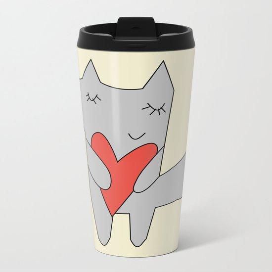 Fox in love Metal Travel Mug