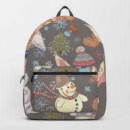 6)Christmas cute illustration with bunny and snowmen. Winter design illustration Backpack