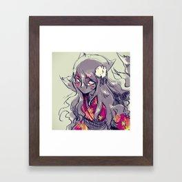 Fox girl sketch Framed Art Print