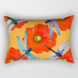 CLUSTER OF BLUE DRAGONFLIES RED HOLLYHOCK FLOWERS Rectangular Pillow
