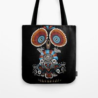 mexican Tote Bags featuring Mexican Owl by Msimioni