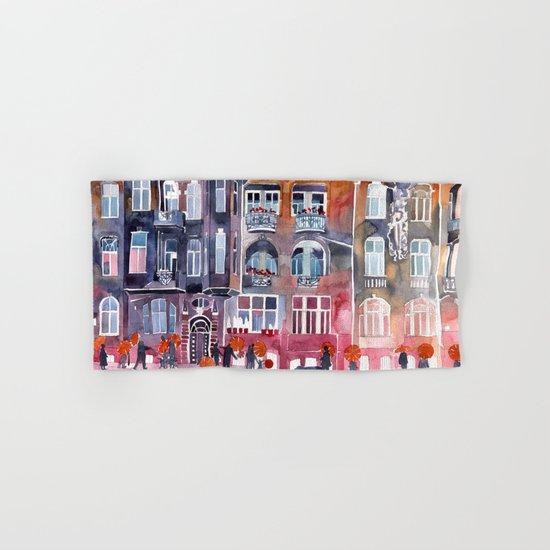 Apartment House in Poznan and orange umbrellas Hand & Bath Towel