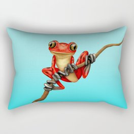 Cute Red Tree Frog on a Branch Rectangular Pillow
