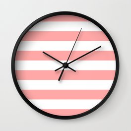 Coral Pink Stripe Horizontal Wall Clock