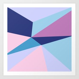 Geometrical pink teal lilac modern colorblock Art Print