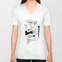 shark V-neck T-shirts featuring Shark by Hopler Art