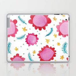 Painted Flowers red Laptop & iPad Skin