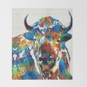 Colorful Buffalo Art - Sacred - By Sharon Cummings by sharoncummings