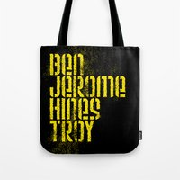 steelers Tote Bags featuring Ben Jerome Hines Troy / Black by Brian Walker
