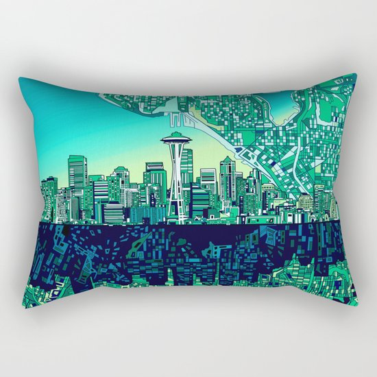 seattle city skyline Rectangular Pillow