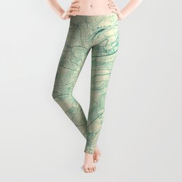Luxembourg Map Blue Vintage Leggings