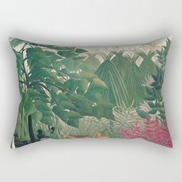 The Waterfall by Henri Rousseau 1910 // Jungle Waterfall Deer Indigenous People Flowers Plant Scene Rectangular Pillow
