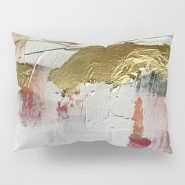 Untranslated Stars: a minimal, abstract piece in gold, pink, and white by Alyssa Hamilton Art Pillow Sham
