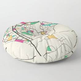 Colorful City Maps: Pattaya, Thailand Floor Pillow