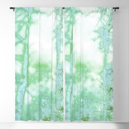 Magical forest in frosty greens Blackout Curtain