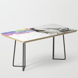 Wolf Howling Rainbow Watercolor Coffee Table