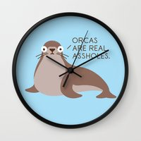 seal Wall Clocks featuring Seal of Reproval by David Olenick