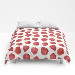 Strawberries watercolor Comforters