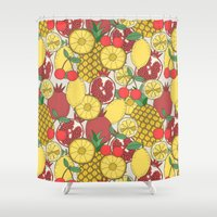 fruit Shower Curtains featuring Fruit by Valendji