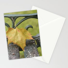 Maple Leaf on Bench Stationery Cards