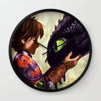 hiccup Wall Clocks featuring How to Train Your Dragon - Hiccup and Toothless by p1xer
