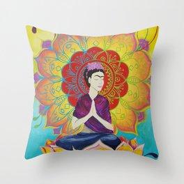 Frida Transcending Mandala and Lotus Blossom Throw Pillow