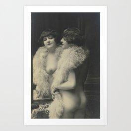 Victorian Vintage Posing Lady Erotic French Looking in Mirror Kunstdrucke