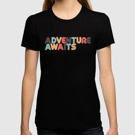 Adventure Awaits Retro Rainbow Typography T-shirt