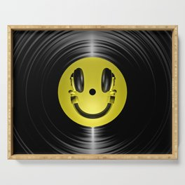 Vinyl headphone smiley Serving Tray