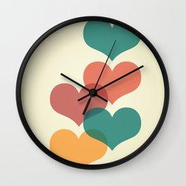 Mid century modern hearts Wall Clock