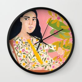 Floral Lady Wall Clock